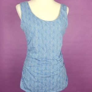 Boden Tank Top Blouse Ruched Sides Geometric